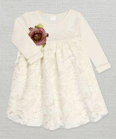 Love this Ivory & Burgundy Gabriella Flower Dress - Infant by Truffles Ruffles on #zulily! #zulilyfinds