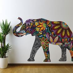 wow i love this!! Colorful Elephant Wall Sticker Decal. $91.99, via Etsy.