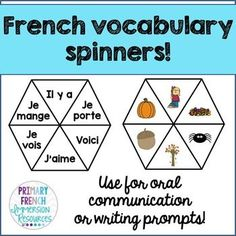 French vocabulary spinners - prompt students for oral communication or writing prompts!