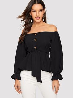 047704a310 Off Shoulder Button Front Belted Top | SHEIN Spring Blouses, Spring Shirts,  Types Of