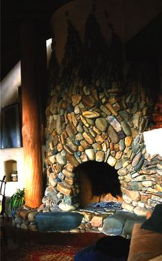 River rock 'Flame' fireplace