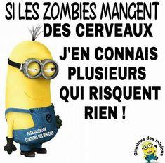 Si les #zombies mangent des #cerveaux j'en connais #plusieurs qui risquent #rien !!! #blague #drôle #drole #humour #mdr #lol #vdm #rire #rigolo #rigolade #rigole #rigoler #blagues #humours Minion Humour, Funny Minion Memes, Funy Quotes, Jokes Quotes, Science Writing, Science Fiction, Ah Ok, Good Humor, Morning Humor
