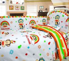 Newborn Baby Bedding set Cartoon Kids Crib Bed Sheets 100% Cotton Baby Bedclothes Include Pillow Bumpers Mattress Quilt(China (Mainland))