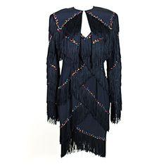 1980's Bob Mackie Rhinestone Studded Fringe Dress with Jacket USA