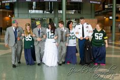One of my favorite wedding photos of all time taken for Green bay packers wedding dress