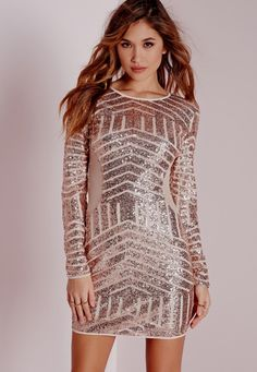 Long Sleeve Sequin Bodycon Dress Rose Gold