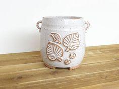 Stoneware Utensil Holder in Glossy White Glaze Rustic