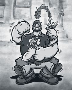 Popeye vs. Bluto by Justin Gammon  .