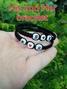Couples bracelets, initial bracelet, boyfriend bracelet, his and her bracelet, Friendship bracelet, braided bracelets, gift for her, christmas gift for her, christmas gift for boyfriend