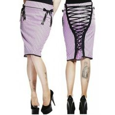 Hell Bunny Mrs Johnson Skirt Pink: $39.95  >Brand:     Hell Bunny >Tragic Rewards: 19  >One of our favourite pencil skirts ever! Stunning baby pink 50's rockabilly style pencil skirt from the Hell Bunny 'Vixen' collection. It is a soft candy pink with black stripes and a smooth pencil fit. Featuring fully adjustable corseting with black satin ribbon lacing from top to bottom at the rear adding a touch of sexy vavoom! Concealed side zip fastening. Finished perfectly with a black satin bow…