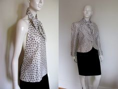Vintage Bill Blass Designer 4 Piece Polka Dot Skirt Suit Set with Jacket Halter Top and Blouse   https://www.etsy.com/listing/100412698/vintage-bill-blass-designer-4-piece