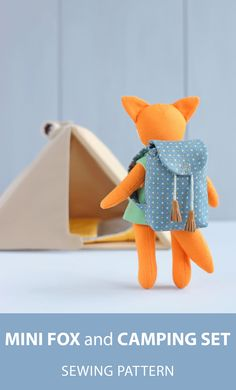 Mini fox doll with clothes + Camping set (camping tent, sleeping bag, backpack) for mini doll sewing patterns. Bag Patterns To Sew, Crochet Blanket Patterns, Pdf Sewing Patterns, Crochet Stitches, Doll Patterns, Roll Up Curtains, Bag Sewing, Camping Set, Clothes Basket