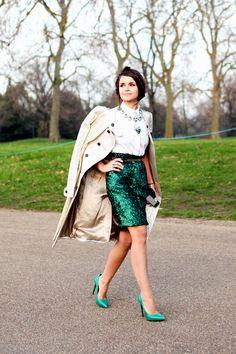what-do-i-wear: Get Miroslava's look:Burberry metallic jacquard trench coat,Stella McCartney white shirt,Burberry Prorsum sequin skirt andSaint Laurent heels(image:wethepeoplestyle)