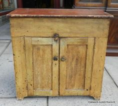 19th Century Cottage Painted American Primitive Lift Top Dry Sink Cabinet C1860 | eBay