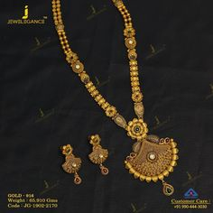 No photo description available. Gold Temple Jewellery, Indian Wedding Jewelry, Gold Jewellery Design, Bridal Jewelry, Gold Jewelry, Gold Necklace, Gold Mangalsutra Designs, Gold Earrings Designs, Necklace Designs