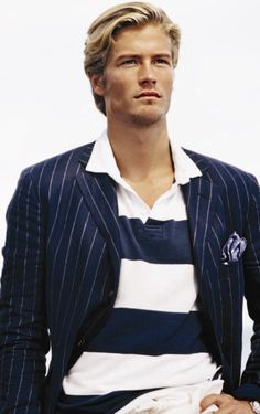 Rugby + pinstripe suit