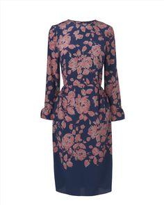 Floral Printed Dress,Navy,original
