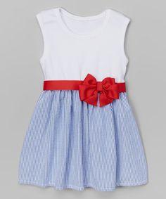 Love this White & Blue Seersucker Bow Dress - Infant & Toddler on #zulily! #zulilyfinds