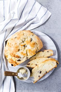 Delicious Irish soda bread with raisins and a dense texture and loads of flavor