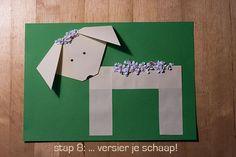 Thema lente: vouw een schaap - jufBianca.nl - voorbeeld - instructie - stappenplan