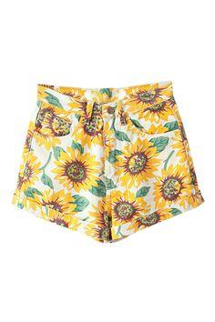 ROMWE | ROMWE Sunflower Print High-waist Denim Shorts