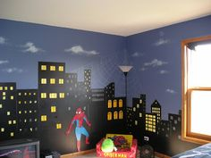 superhero cityscape @Michelle Flynn Bannie For Amelia:0) I think she needs this right away! I've been meaning to ask if she has super hero bedding? I was thinking of her birthday. Love you!