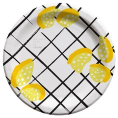 "Whitney Port for Cheeky® 7"" Lemon Grid Paper Plates 