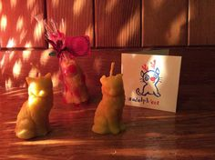 cute cat beeswax candles