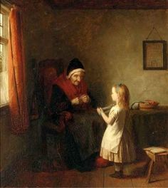 Youth and Age - 1876 Painting by Thomas Webster.