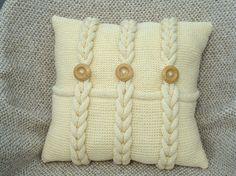 Almohadas grueso marfil punto almohadas del sofá por OlgaArtShop
