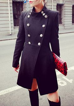 Stand-Up Collar Black Coat