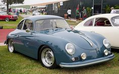 1957 Porsche 356 Coupe - Aqua Marine Blue - fvr --- Steve McQueen Show 076 Porsche Sports Car, Porsche Cars, Vintage Porsche, Vintage Cars, Steve Mcqueen Cars, Porsche 356a, 356 Speedster, Gt Cars, Car Colors
