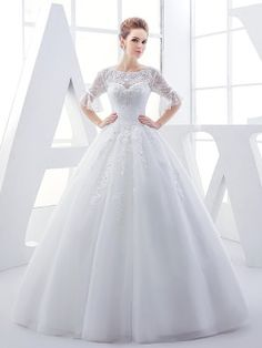 Scoop Neck Half Sleeves Lace Beading Ball Gown Wedding Dress & colored Wedding Dresses