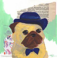 Dapper Gentleman - Original Pug Painting by Claire Chambers / Chickenpants Studio Your Paintings, Original Paintings, Pug Illustration, Pug Art, Bowler Hat, Dapper Gentleman, Gouache, Watercolor Paper, Pugs