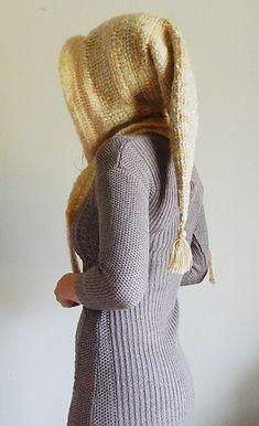 Ravelry: Tunisian Fantasy Hood pattern by Regina Weiss Crochet Cowl Free Pattern, Crochet Hood, Tunisian Crochet Patterns, Crochet Stitches, Knitting Patterns, Lace Patterns, Lace Knitting, Crochet Crafts, Crochet Yarn