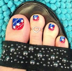 Patriotic piggies!!! #4th of july! #nail art #toe ring