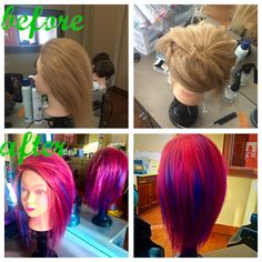 Pravana vivids melty hair! Half pinwheel sectioning then melt contrasting colors down every other section.