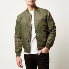 Checkout this Khaki padded MA1 bomber jacket from River Island