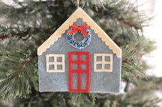 House Ornament Felt Ornament Felt House by FancyFayeHandmade Christmas Holidays, Christmas Decorations, Christmas Tree, Christmas Ornaments, House Ornaments, Felt Ornaments, Wine Bottle Tags, Felt House, Holiday Crafts