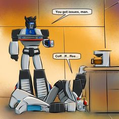 Jazz's reaction to Prowl's coffee problem lol. I'm not a morning person either but I can live without coffee because I don't like coffee. It taste strange to me. I only like Vanilla bean creme based frappés from Starbucks. Transformers Jazz, Rescue Bots, Optimus Prime, Sound Waves, Just In Case, Robot, Funny Pictures, Fandoms, Morning Person