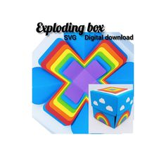 """Exploding Box. Rainbow heart box. SVG digital download. Cricut"" Exploding Boxes, Insert Image, How To Make Box, Explosion Box, Pocket Cards, Heart Cards, How To Use Cricut, Cricut Tutorials, Etsy Shop"