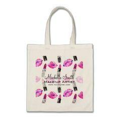 #professional - #Watercolor pink lips lipstick  pattern makeup tote bag