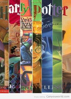 Harry Potter book cover collage - I haven't read these - just seen the movies - very imaginative but a bit on the dark side.