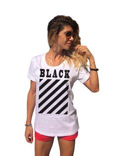 New Black Printed T-shirt  / Short Sleeve Summer Top by SSDfashion
