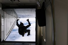 The camera man for the Golden Knights, the Army's premier Parachute Team exits the C-23 Sherpa aircraft at over 12,000 feet above ground level to film the acrobatics of his team mates from a vantage point few others can match during Arctic Thunder 2012.