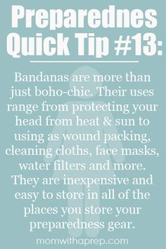 Preparedness Quick Tip #13 - Bandanas, not just for hip, young fashionistas anymore - the multiple uses of bandanas @ Mom with a Prep