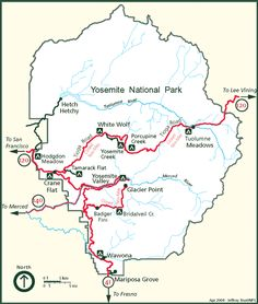 Map of Yosemite National Park - We stayed on Wawona but traveled to Yosemite Valley on Day 4