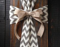 Burlap Cross on Reclaimed Wood Wall Sign by simpleandsage on Etsy