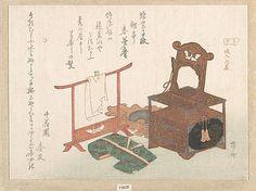 Still Life  Ryûryûkyo Shinsai  (Japanese, 1764?–1820)  Period: Edo period (1615–1868) Date: probably 1816 Culture: Japan Medium: Polychrome woodblock print (surimono); ink and color on paper