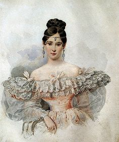 1832 Natalia Pushkina by Karl Brullov (Pushkin Museum, Moskva Russia) This 1832 Brullov portrait of Natalia Nikolaievna Pushkina is the most well known portrait of this legendary beauty.